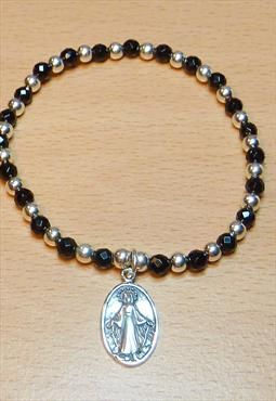 Sterling Silver & Onyx Bracelet with Virgin Mary