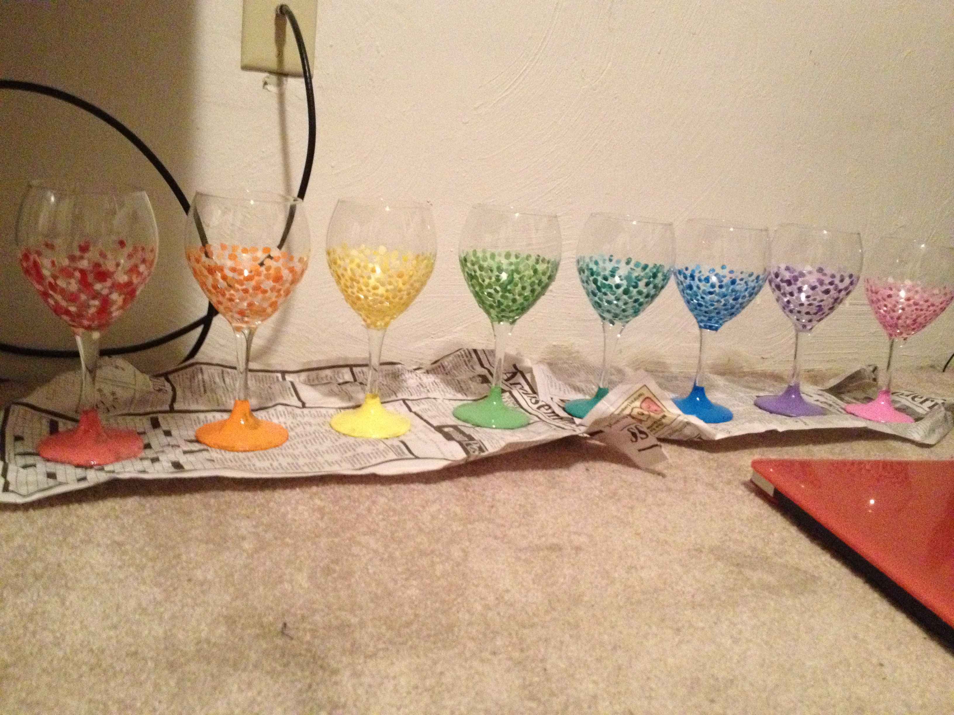 diy painted wine glass idea wine glass decorating ideas