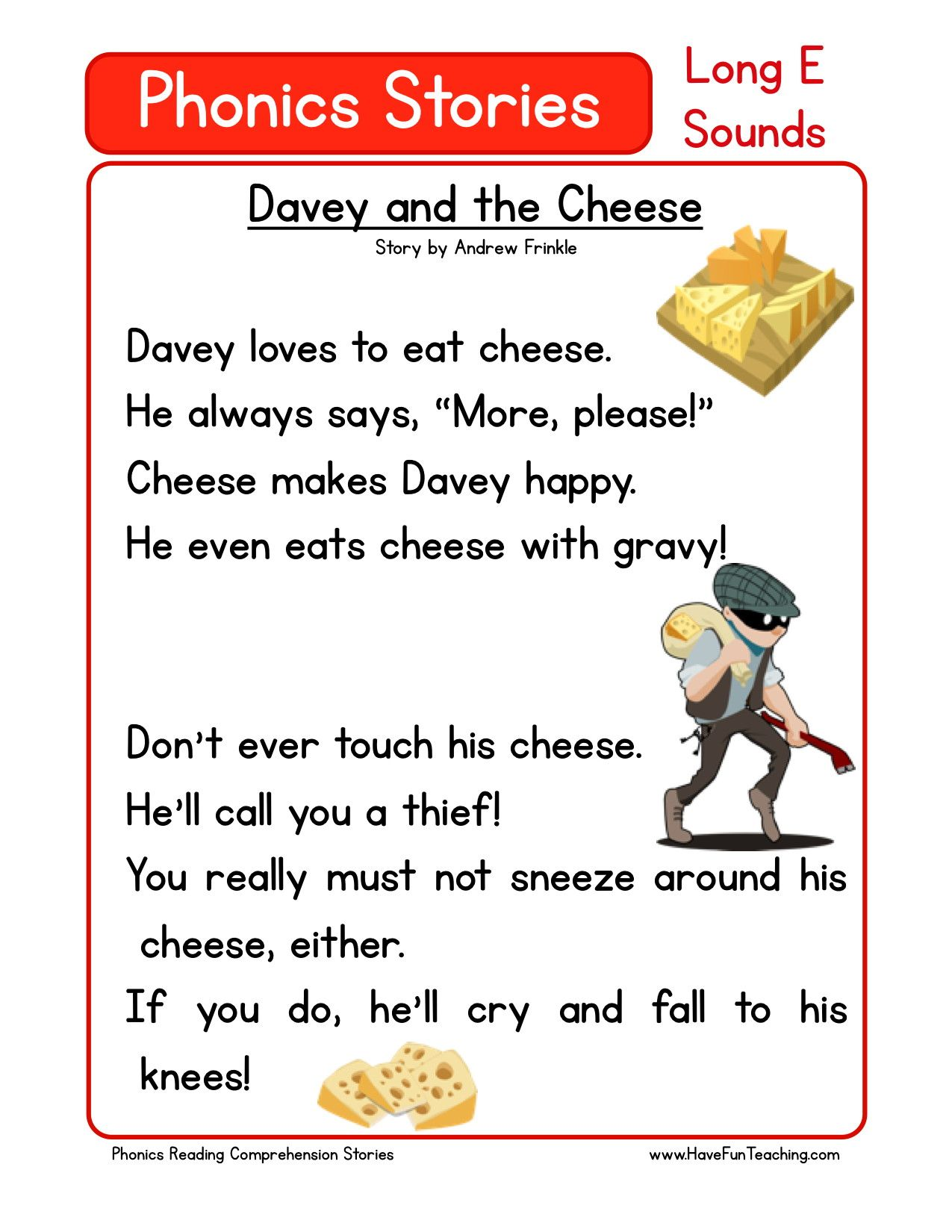 Reading Comprehension Worksheet Davey And The Cheese Reading Comprehension Phonics Reading Comprehension Worksheets [ 1650 x 1275 Pixel ]