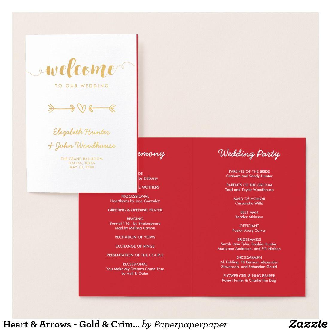 Heart & Arrows - Gold & Crimson - Wedding Program | Wedding programs ...