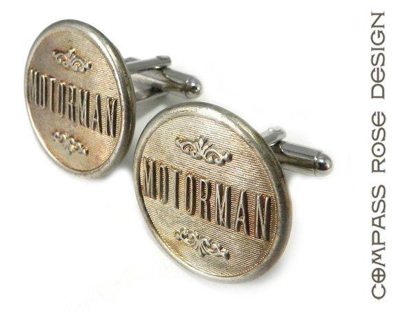 Railroad Cufflinks - Antique Motorman Railroad Uniform Buttons - Railway Antique Brass by Compass Rose Design