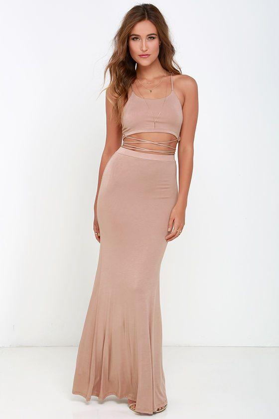 7d90f526e8eb Fair to Slay Taupe Two-Piece Maxi Dress | lè wardrobe siorée | Beige ...