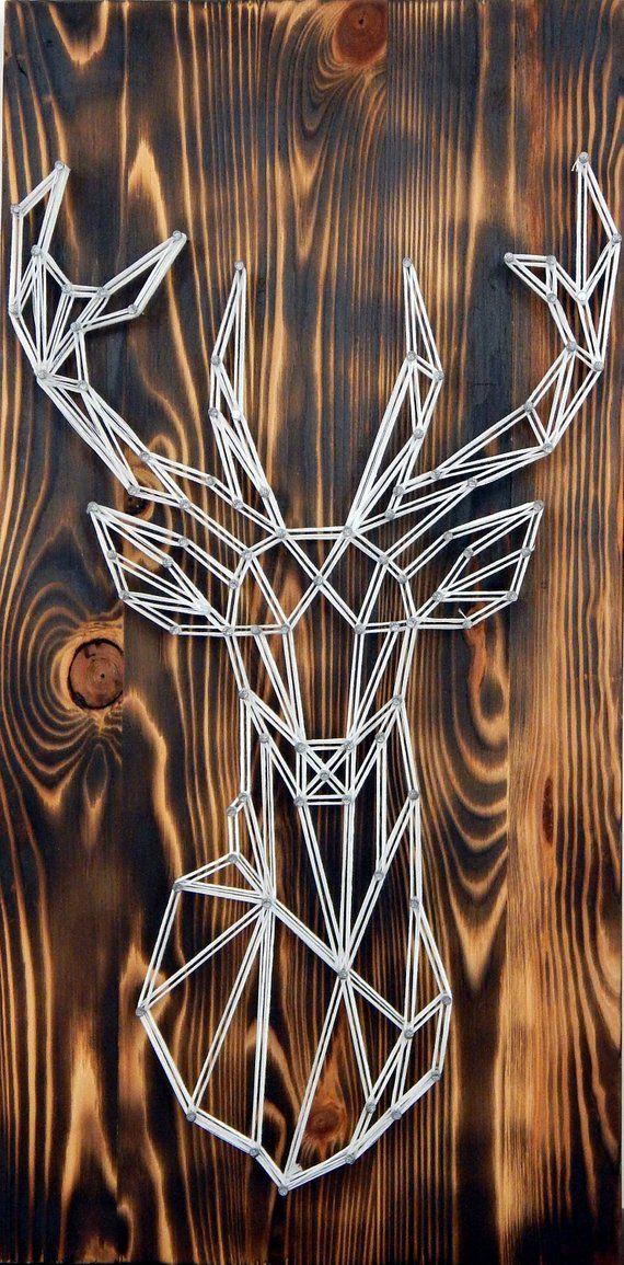 Hirsch Kopf Dekor, Holz Dekor der Hirsch, Bild der weißen Hirsch, Holz-Wand-Dekor, Bild der Hirsch, skandinavische Dekor, Bild von nordischen Hirsch