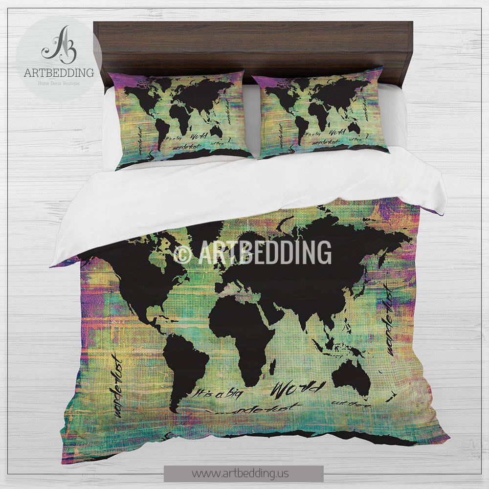 Watercolor world map beddingblack world map neon grunge duvet cover watercolor world map beddingblack world map neon grunge duvet cover set bohemian map comforter set gumiabroncs Choice Image
