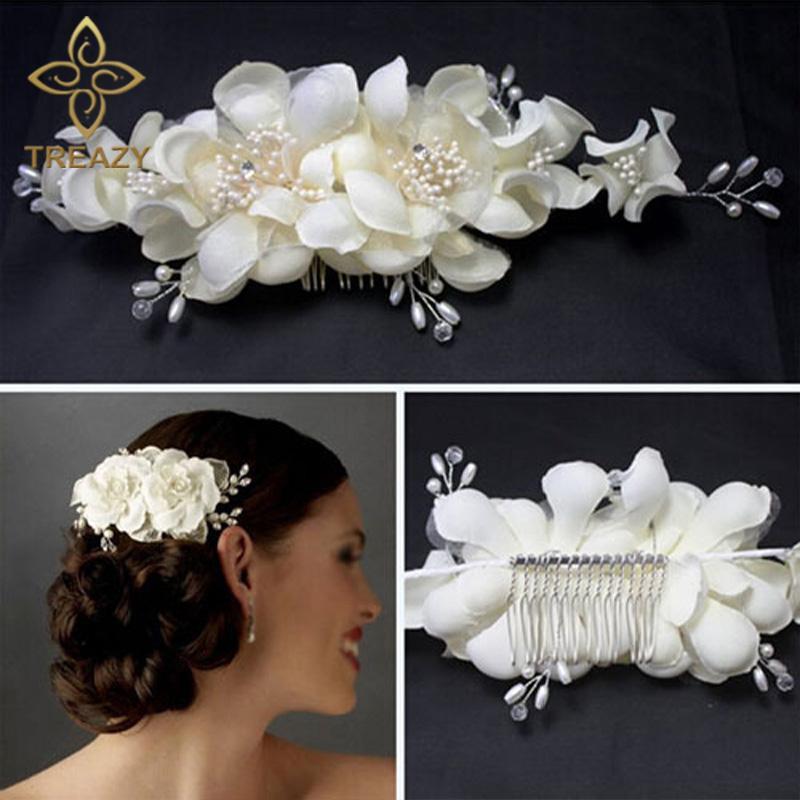 Women Bridesmaid Bridal White Flower Hair Comb Hairpins Wedding Accessories Headpiece Veil Jewelry