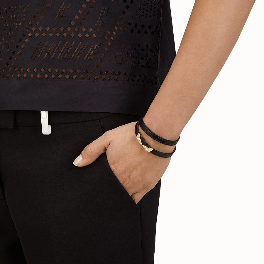 93a2aba28698 FENDI CRYSTAL WONDERS BRACELET - double-wrap in black nappa with rhinestones  - view 2 detail