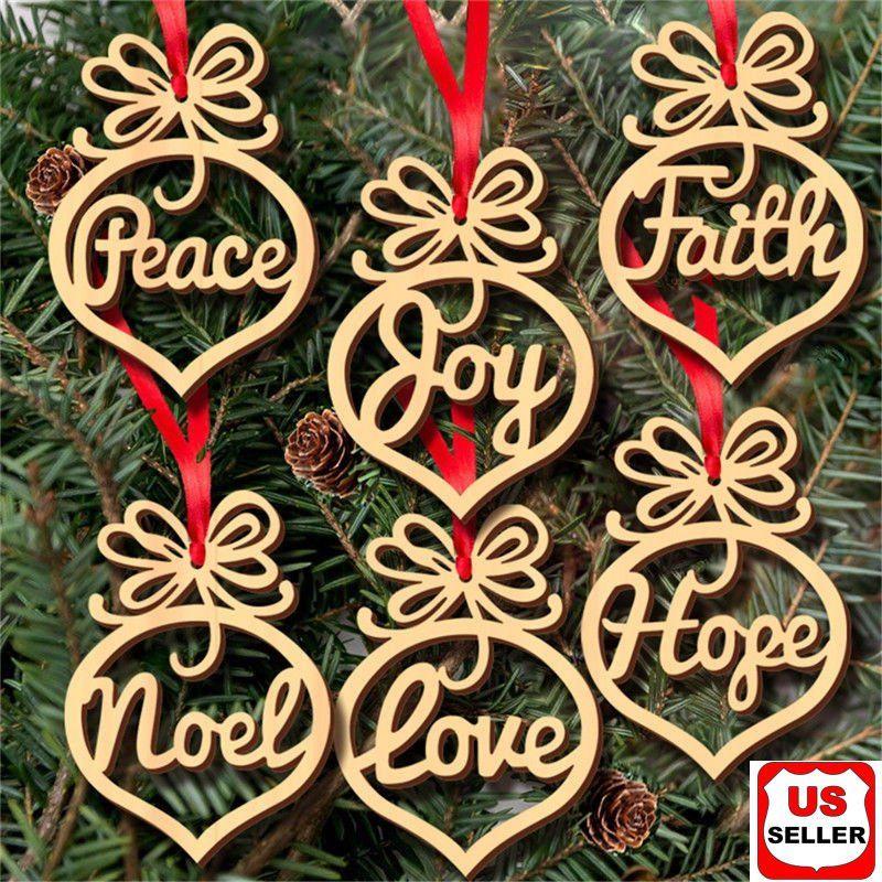 6 Pcs Christmas Decorations Wooden Ornament Xmas Tree Hanging Pendant Ornament Walmart Com In 2020 Wooden Christmas Decorations Wood Christmas Ornaments Wooden Christmas Tree Decorations
