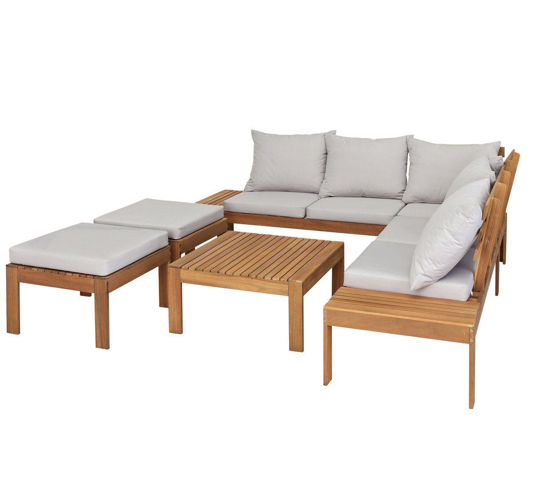Buy Argos Home 6 Seater Wooden Corner Sofa Set   Patio ...