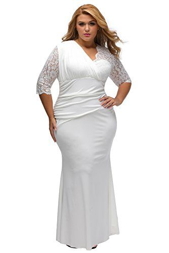 e4293baf918 Lalagen Women s Plus Size Lace Half Sleeve Long Wedding Evening Maxi Dress  White XL -- Be sure to check out this awesome product.