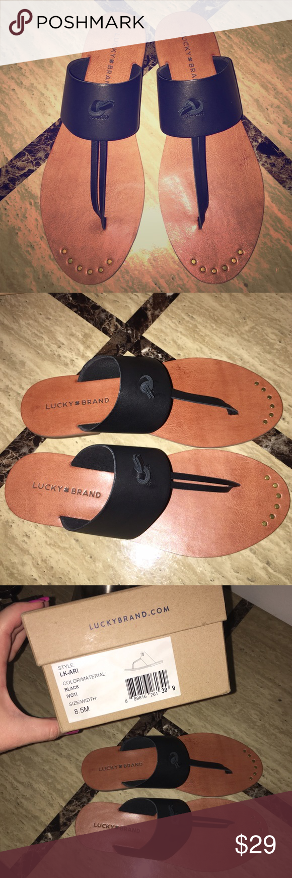 Lucky Brand Ari Black Thong Sandals Lucky Brand Ari Thong sandal with wide leather band, knotted Thong and gold stud details at toe.  Rubber sole for traction. Brand new never worn. Box included. Lucky Brand Shoes Sandals