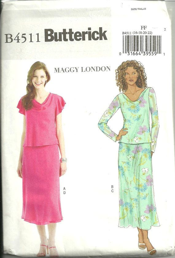 Womens Misses Ladies Top and Skirt Easy Sewing Pattern Butterick ...
