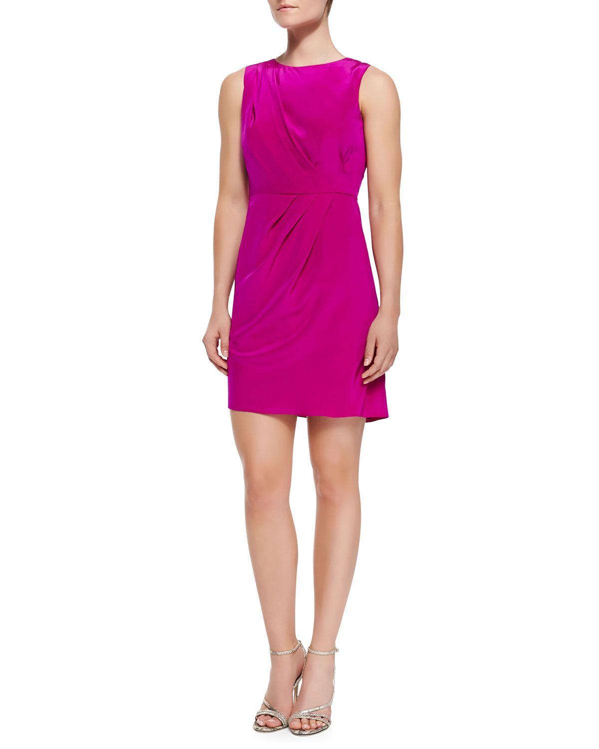 Shoshanna Sleeveless Luxe Diagonal Pleat Dress, Raspberry