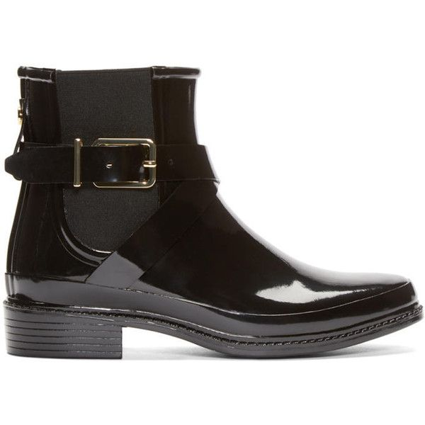Burberry London Black Rubber Leanne Boots (336 CAD) ❤ liked on Polyvore featuring shoes and boots