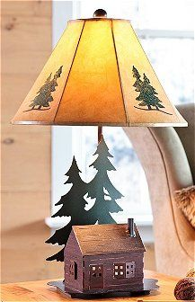 Log Cabin Table Lamp With Nightlight   Our Whimsical Log Cabin Lamp Is Sure  To Add