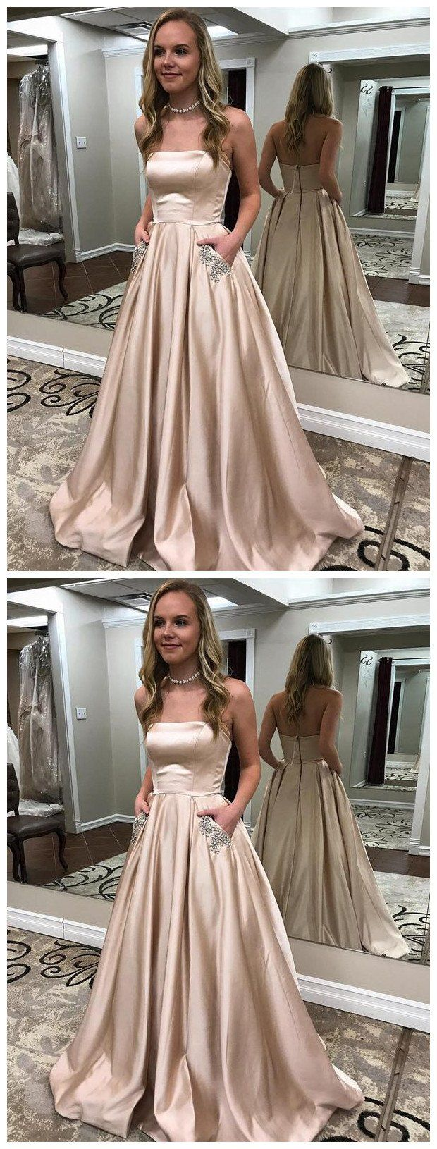Aline strapless long gold prom dresses with pocket cheap prom