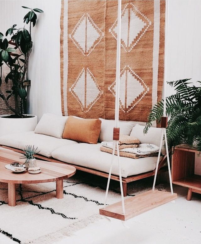 Rooms: Boho Living Room Space With Natural Tones