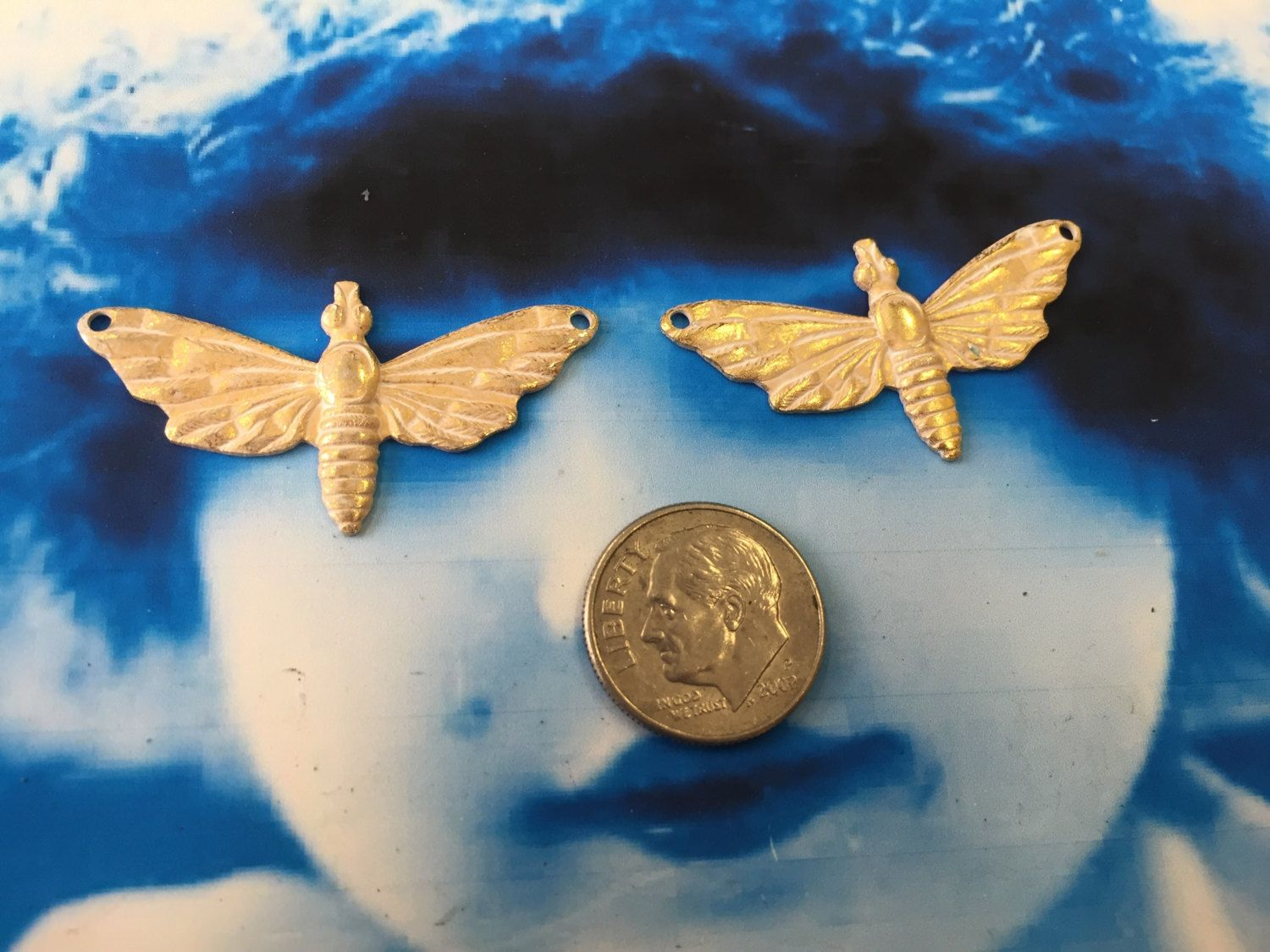 Gold Plated White Frosted Patina  Brass Bee  Moth Stamping Charms 1165WHT x2 by dimestoreemporium on Etsy