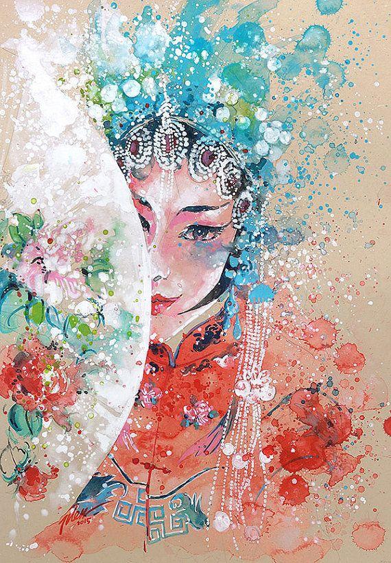 Opera Singer 1 Aquarelle Avec Gouache A4 A3 Art Print