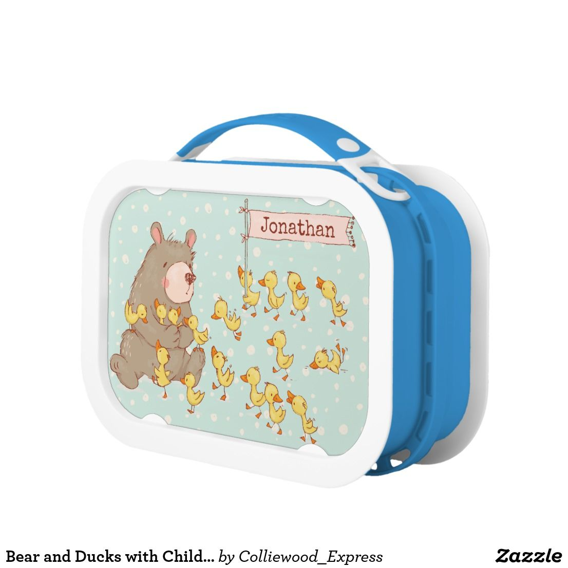 Bear And Ducks With Child S Name Lunch Box Lunch Box Metal Lunch Box Lunch