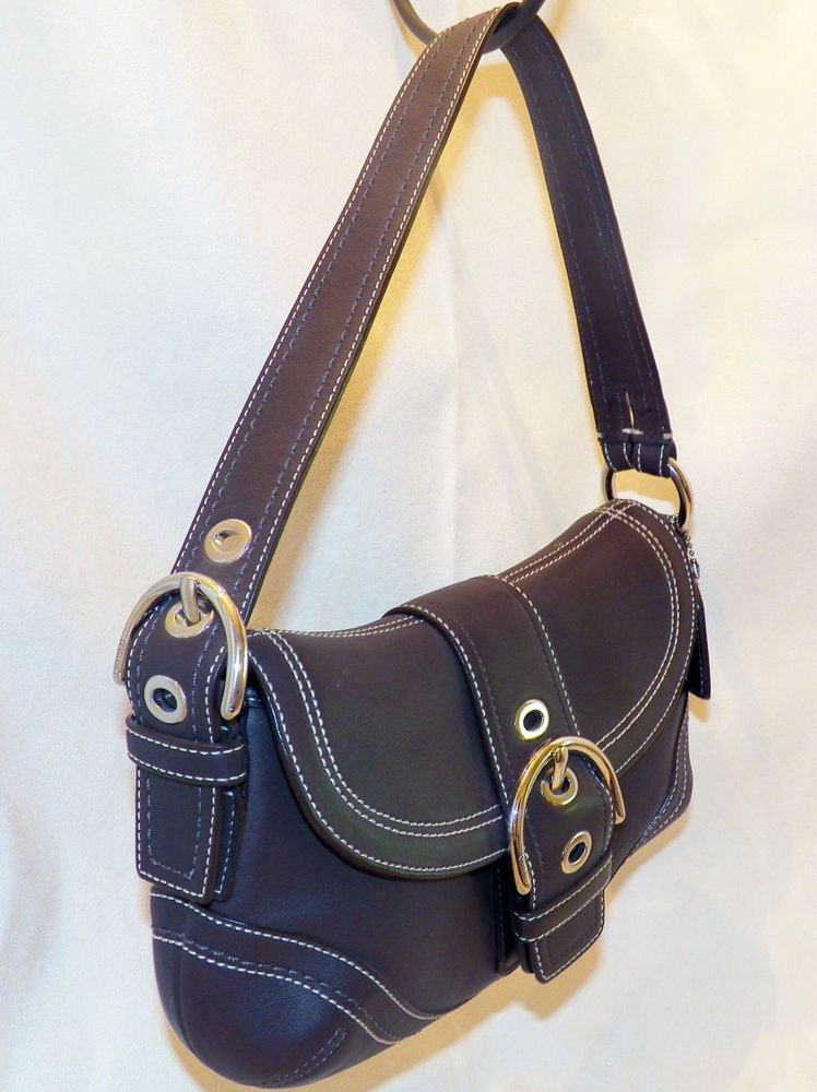 Coach Soho Hampton Espresso Brown Leather Small Hobo Handbag F10909 Shoulder Bag