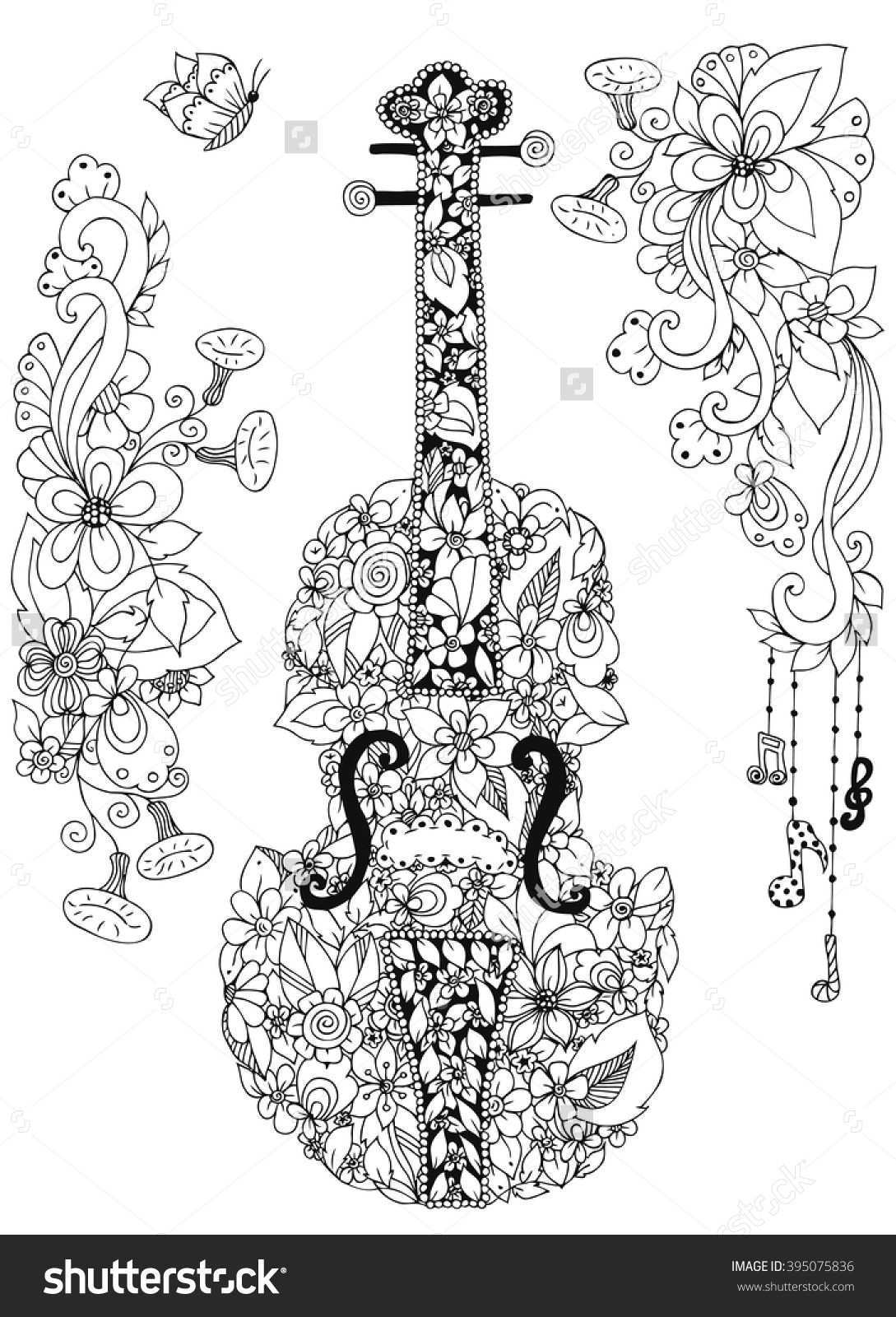 Zentangle violin cello of flowers doodle zenart music for Cello coloring page