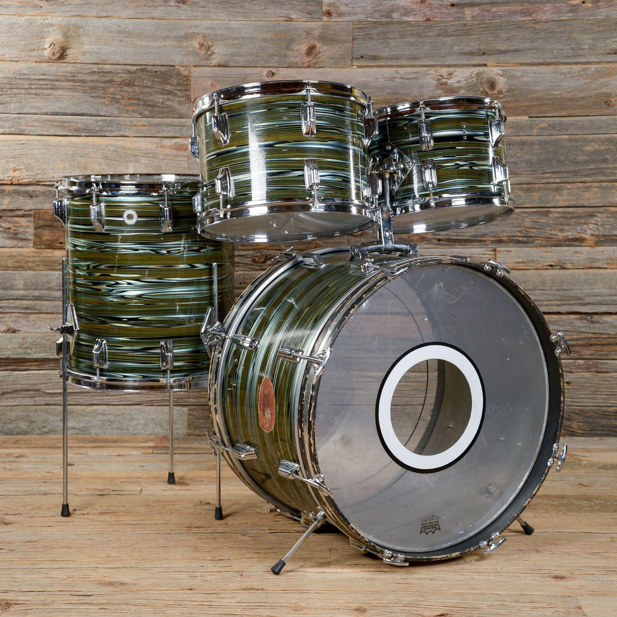 Walberg & Auge 12/13/14/22 4pc Perfection Drum Kit Avocado Strata 1970s USED
