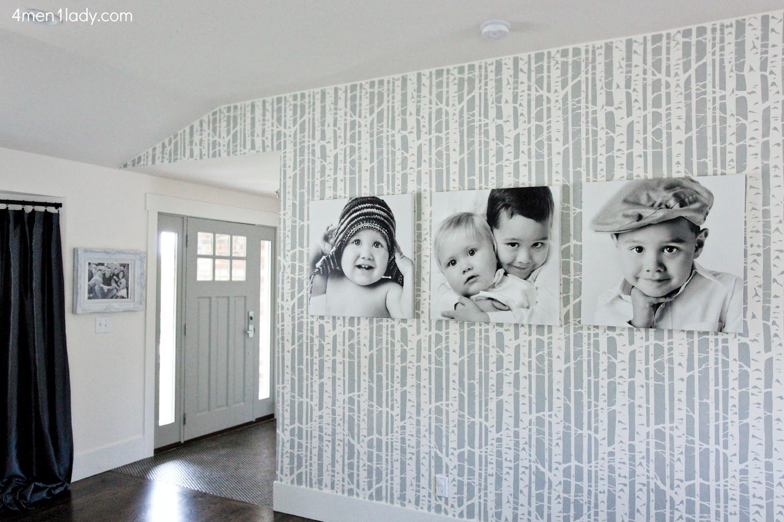 4 Men 1 Lady: Kitchen, Living, Dining Reveal. Stenciled wall, birch tree forest by Cutting Edge Stencils.