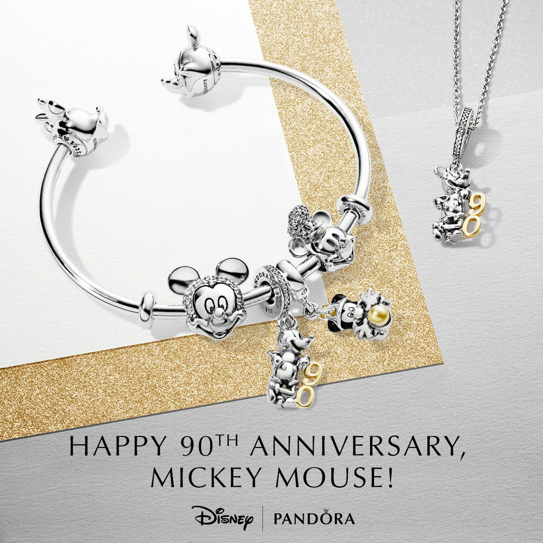 732fddc4d Celebrate 90 years of magic with a Mickey Mouse charm by PANDORA with their  limited edition charm in sterling silver and 14K gold. #disney #pandora ...