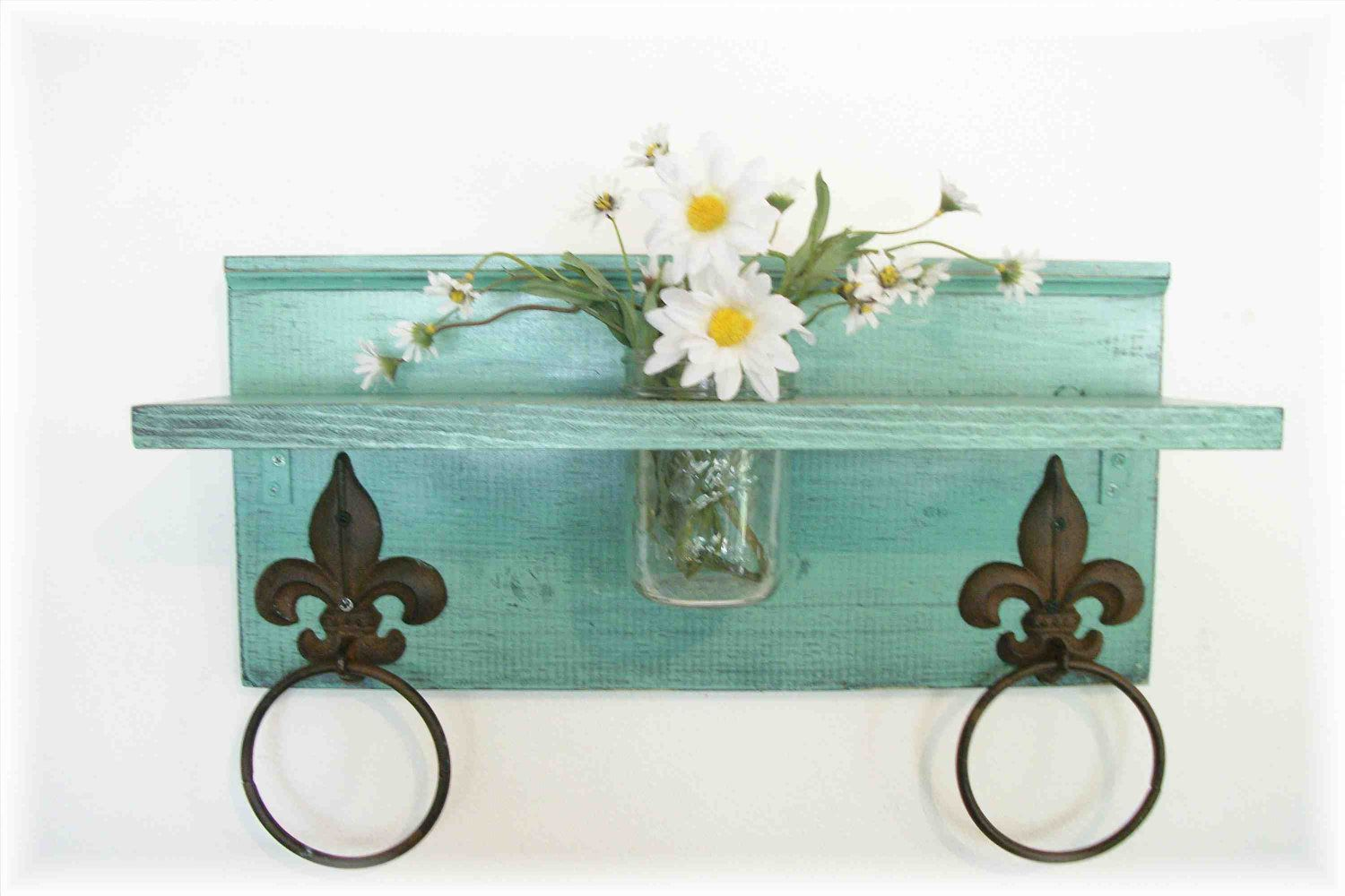 Mint Green Bathroom or Kitchen Fleur de Lis Towel Rings Shelf with ...