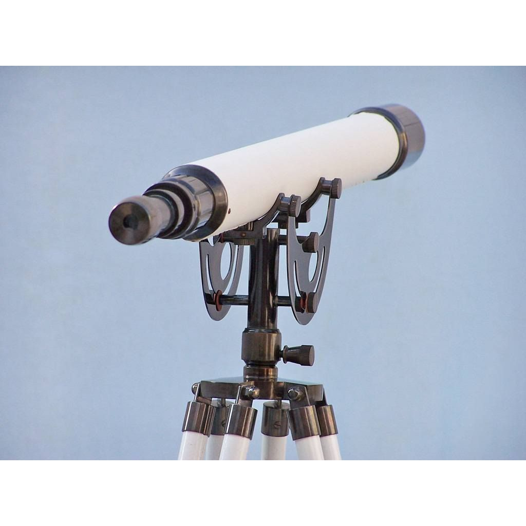 Floor Standing Oil-Rubbed Bronze/White Leather Anchormaster Telescope 65 inch