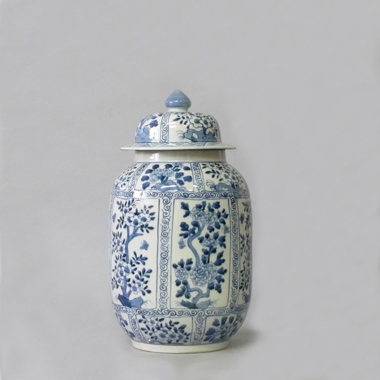 Tall Lidded Ginger Jar - Blue and white hand painted, reproduction Ginger jar with lid