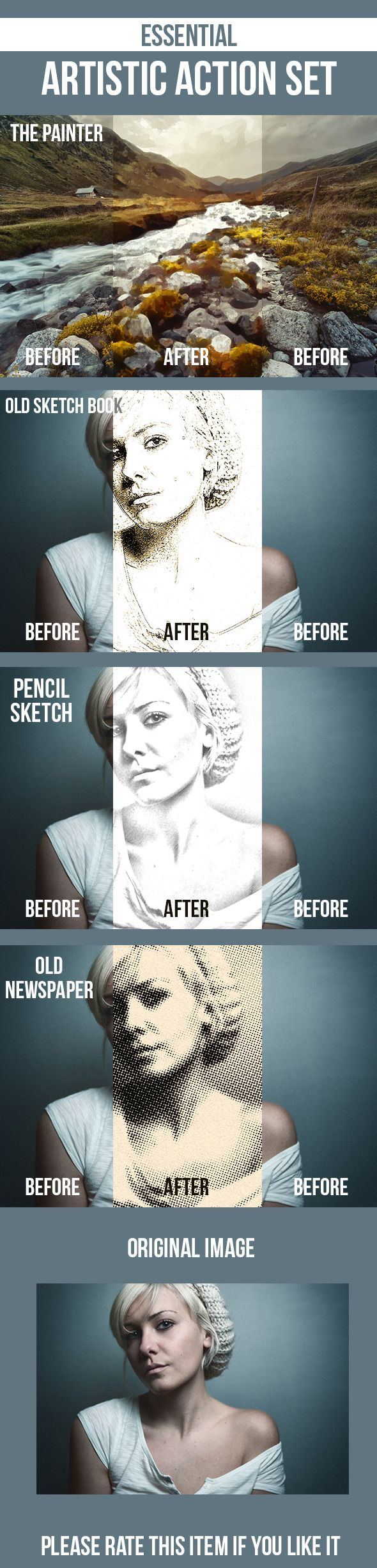 Pencil Sketch, Old Sketchbook, Painting, Newspaper — Photoshop ATN #sketchbook #effect • Available here → https://graphicriver.net/item/pencil-sketch-old-sketchbook-painting-newspaper/7001532?ref=pxcr