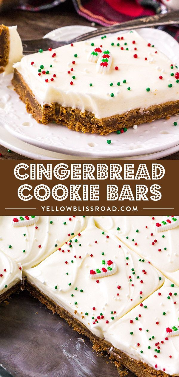 Spiced Gingerbread Cookie Bars are soft and chewy and just melt in your mouth Top with a fluffy cream cheese icing for a delicious Christmas dessert via yellowblissroad