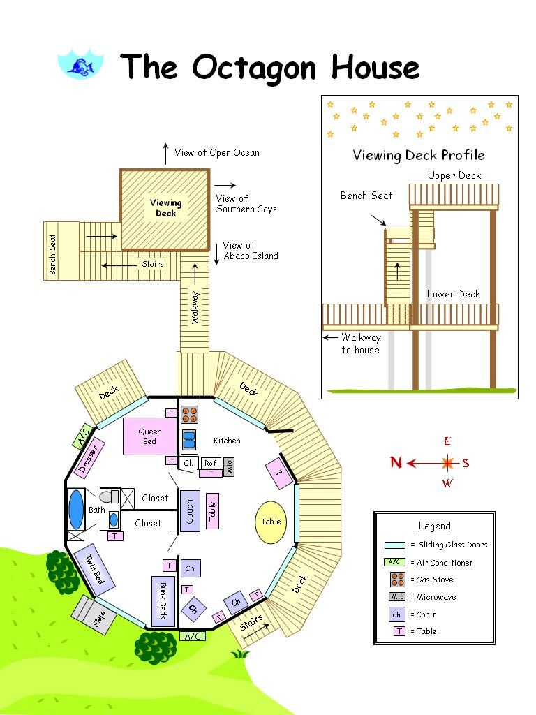 Octagon house plans build yourself the octagon house is for Octagon deck plans free