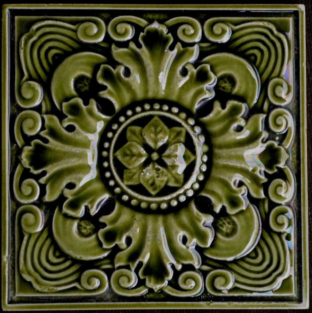 Antique Art Nouveau Majolica Tile Flower Art Nouveau Tile Authentic Antique Tile Made In England Ebay Tegels Antiek