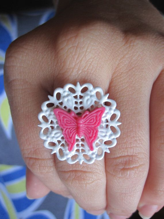 Hot Pink Butterfly Cabochon on White Adjustable Doily Ring by Whimsy, $7.00