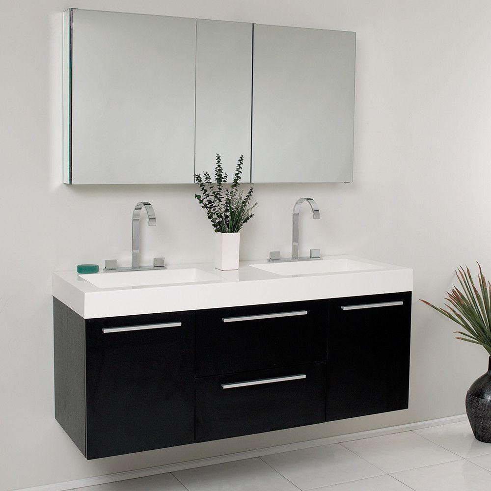 Fresca opulento black modern double sink bathroom vanity w medicine