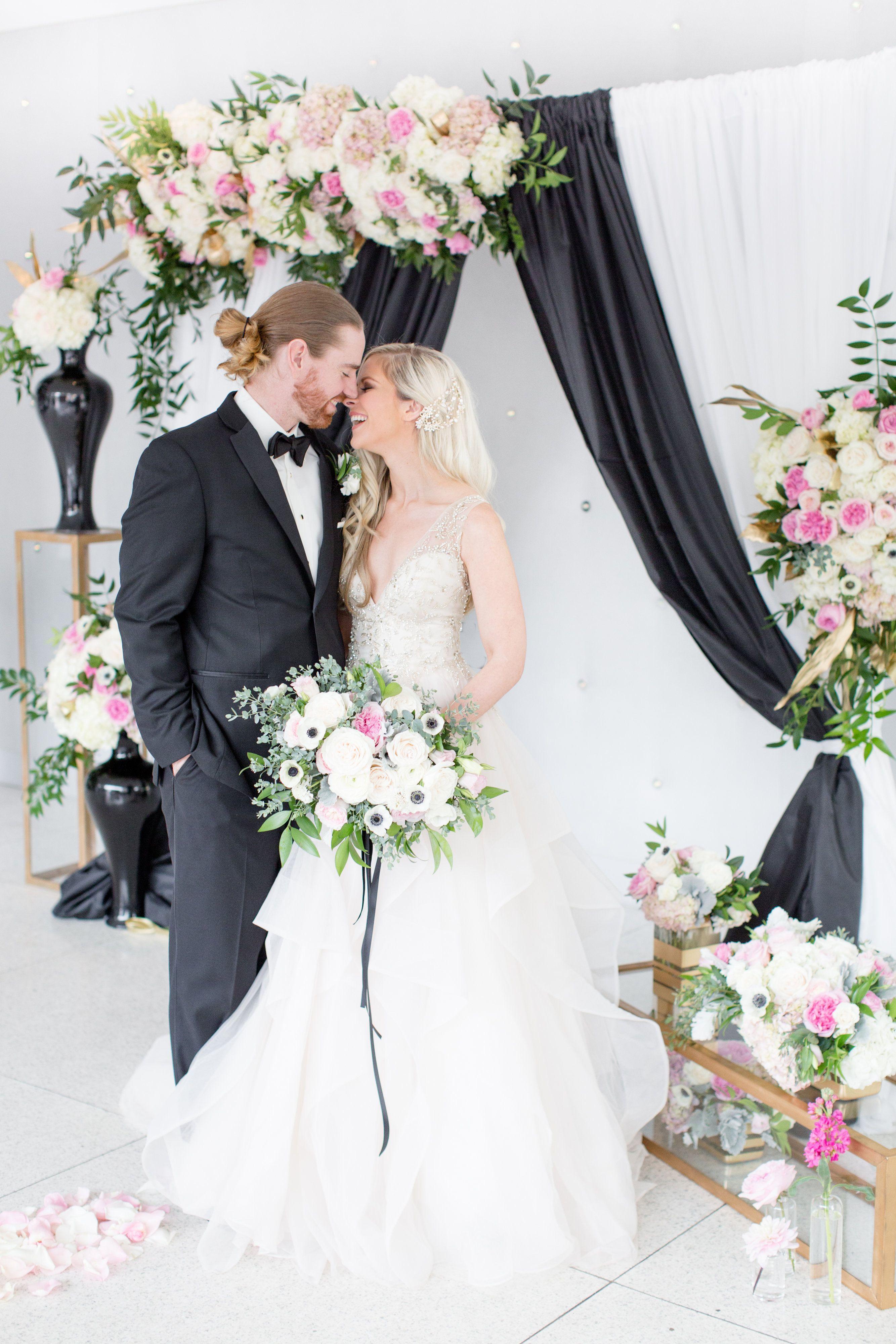 Modernize Your Black White Wedding With A Splash Of Pink Gold Black White Wedding White Wedding Wedding