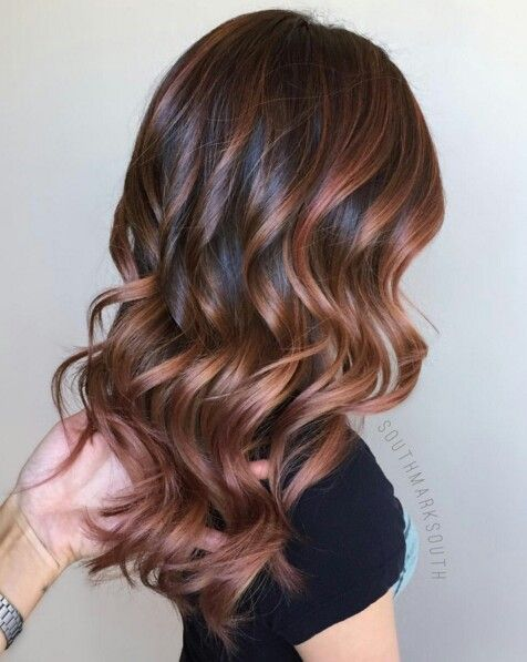 Chocolate Rose Gold Ombre Hair Highlights
