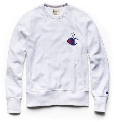 0e8a6bf2 Todd Snyder + Champion Champion X Peanuts Snoopy C Sweatshirt in White