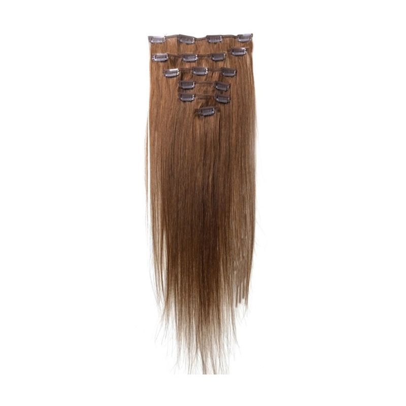 Best Sale Women Human Hair Clip In Extensions 7pcs 70g 20inch Light Brown