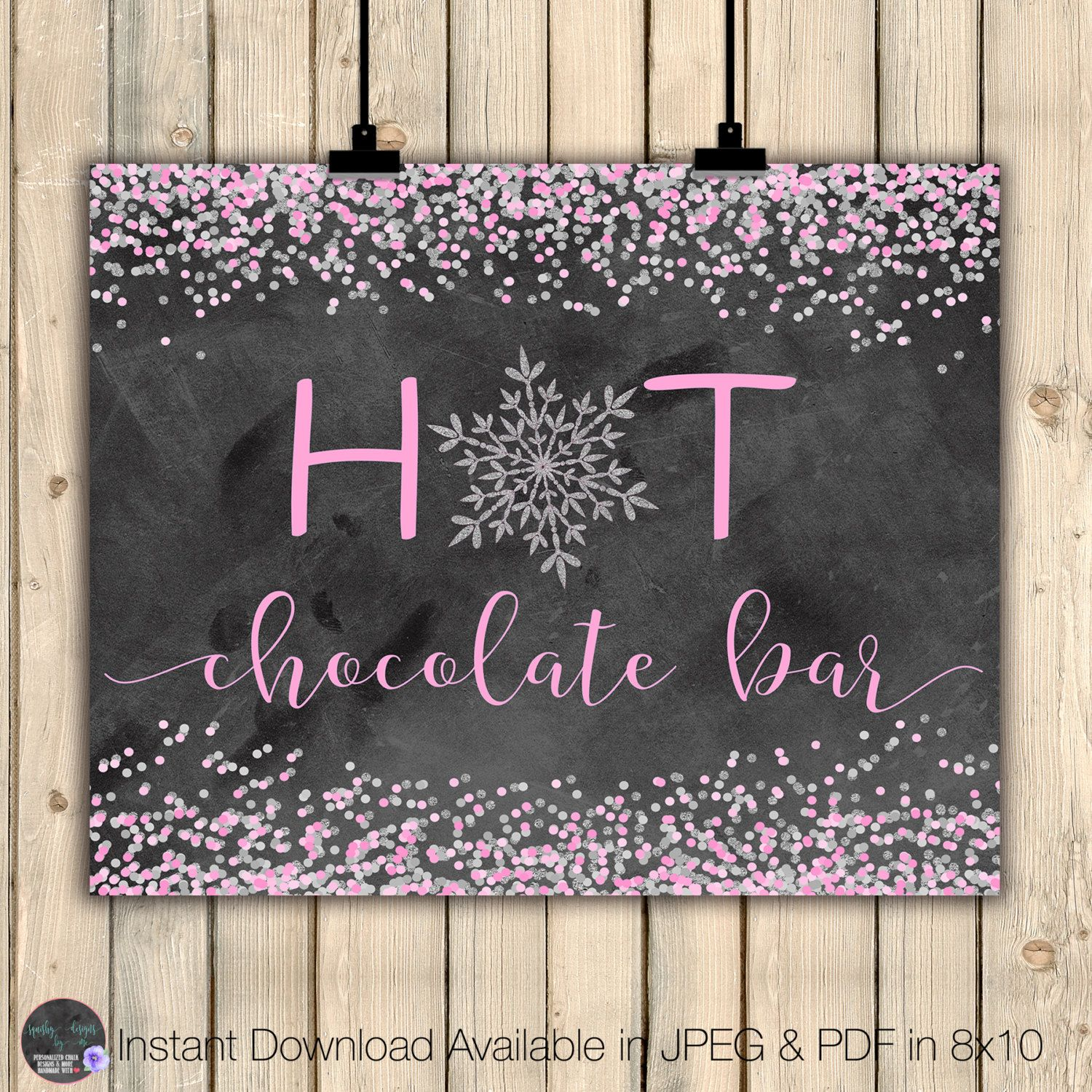 Hot Chocolate Bar Sign, Winter Wedding Sign, Winter Onederland Party