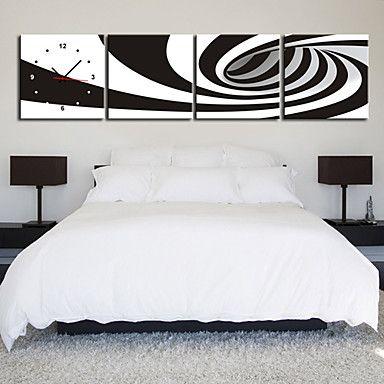 現代アートなモダン キャンバスアート 絵 壁 壁掛け 時計  壁時計 白黒 モノクロ ゼブラ柄 パイプ ホール【納期】お取り寄せ2~3週間前後で発送予定【送料無料】ポイント
