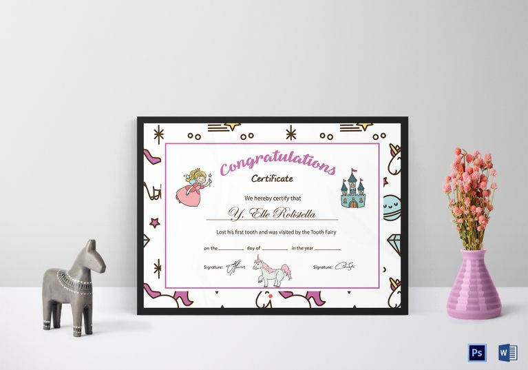 Tooth Fairy Congratulation Certificate Template Pinterest Tooth