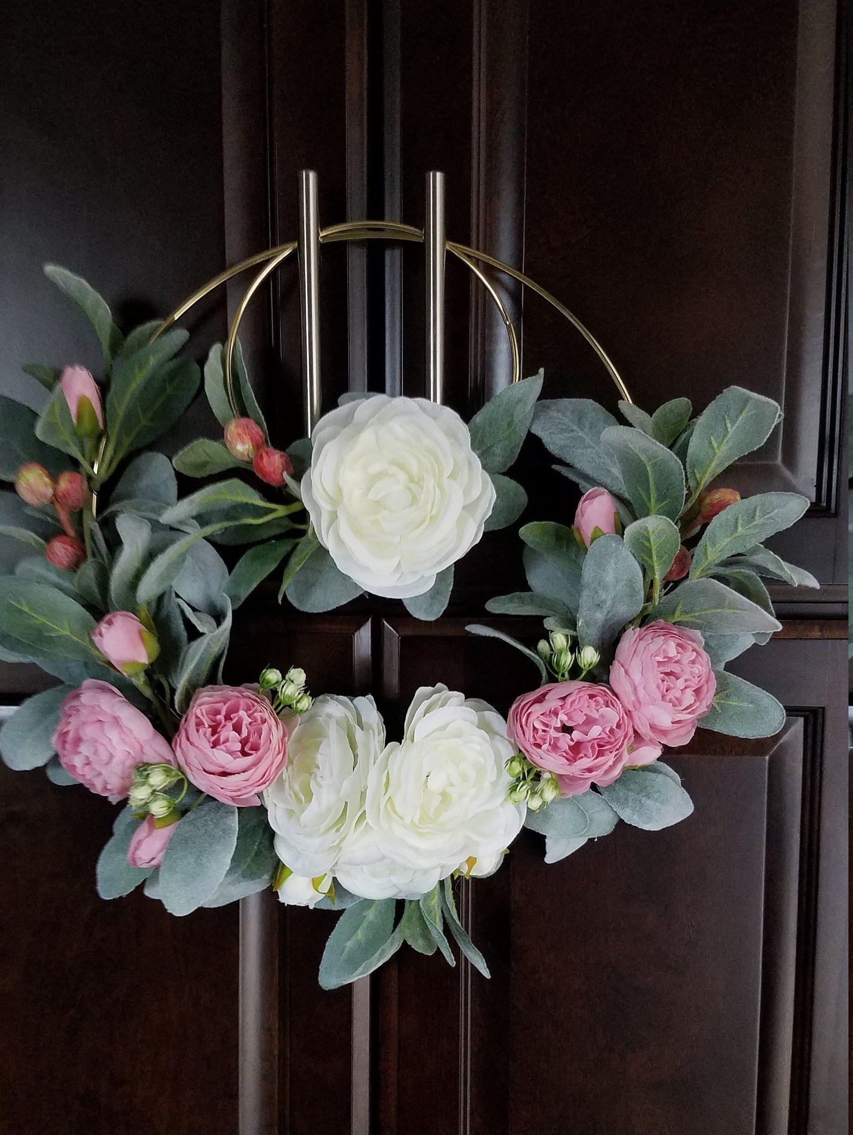 Modern Door Wreath Set Of Two Hoop Wreaths Nursery Wreath Set Lambs Ear And Peony Wreaths Lavender Decor Door Wreaths Floral Wreath