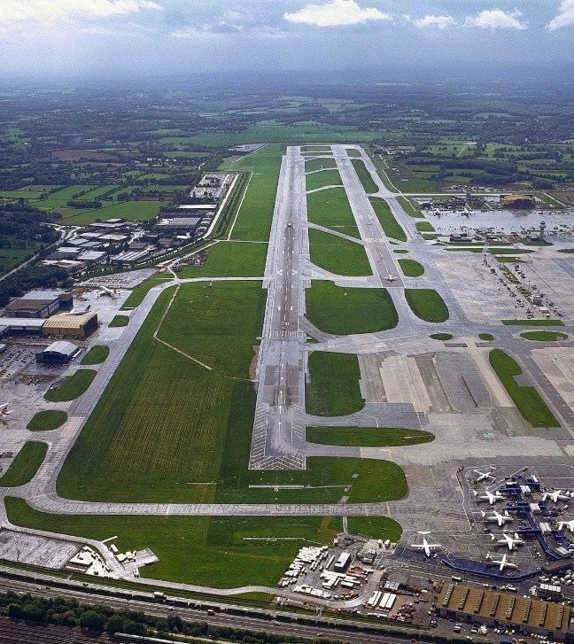 An Aerial View Of London Gatwick Airport Runway In South Terminal