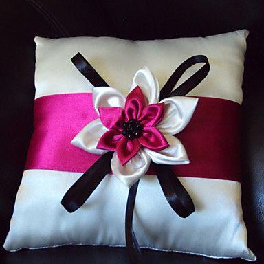 Ring pillows Hot pink wedding Wedding ring bear pillows Hot pink and black wedding Wedding ring holder pillow Black themed weddings Hot pink