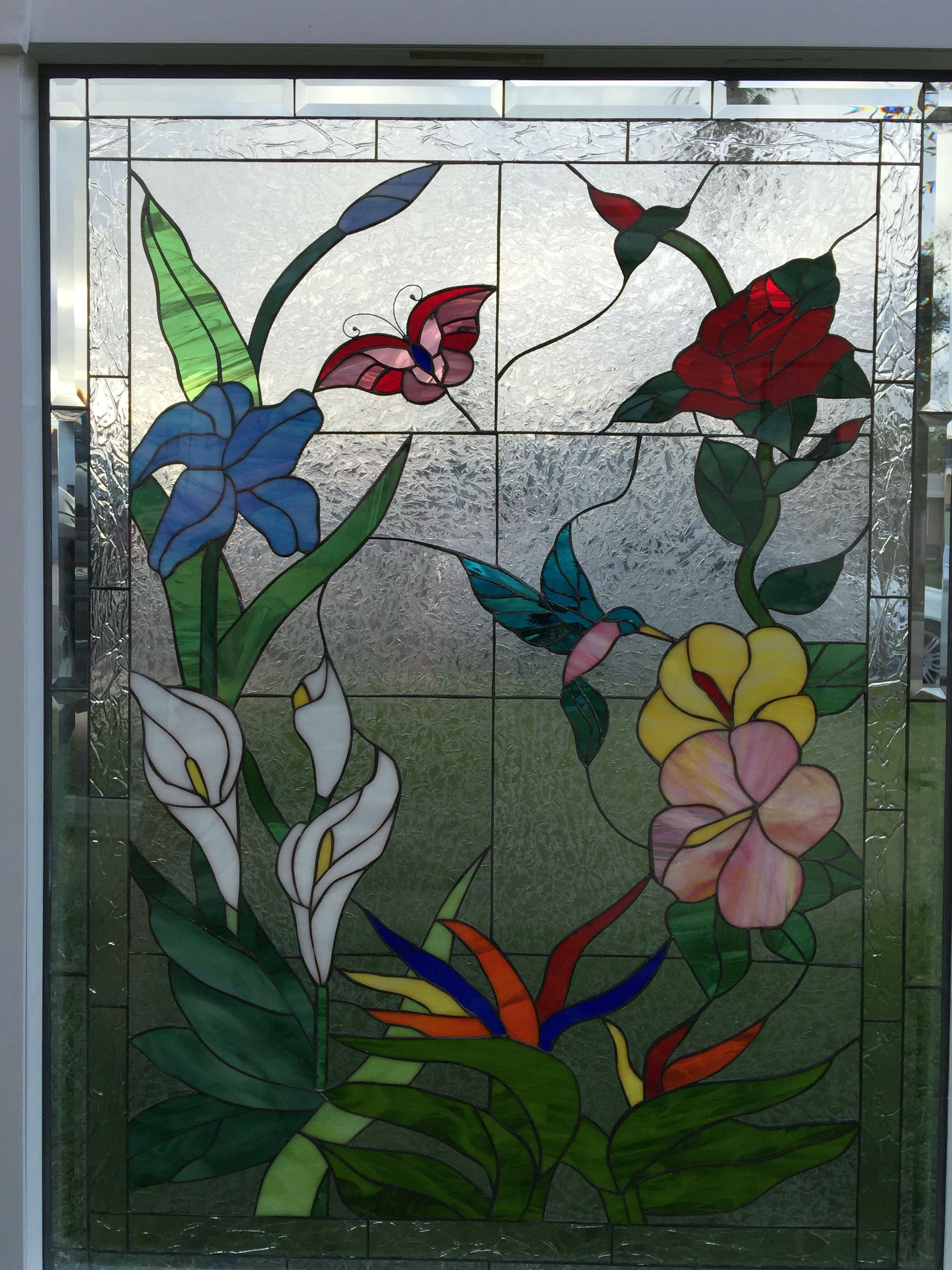 Erfly Hummingbird Flowers Insulated Stained Gl Window Panel Pre Installed Into A