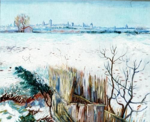 Vincent Van Gogh「SNOWY LANDSCAPE WITH ARLES IN THE BACKGROUND」(1888)