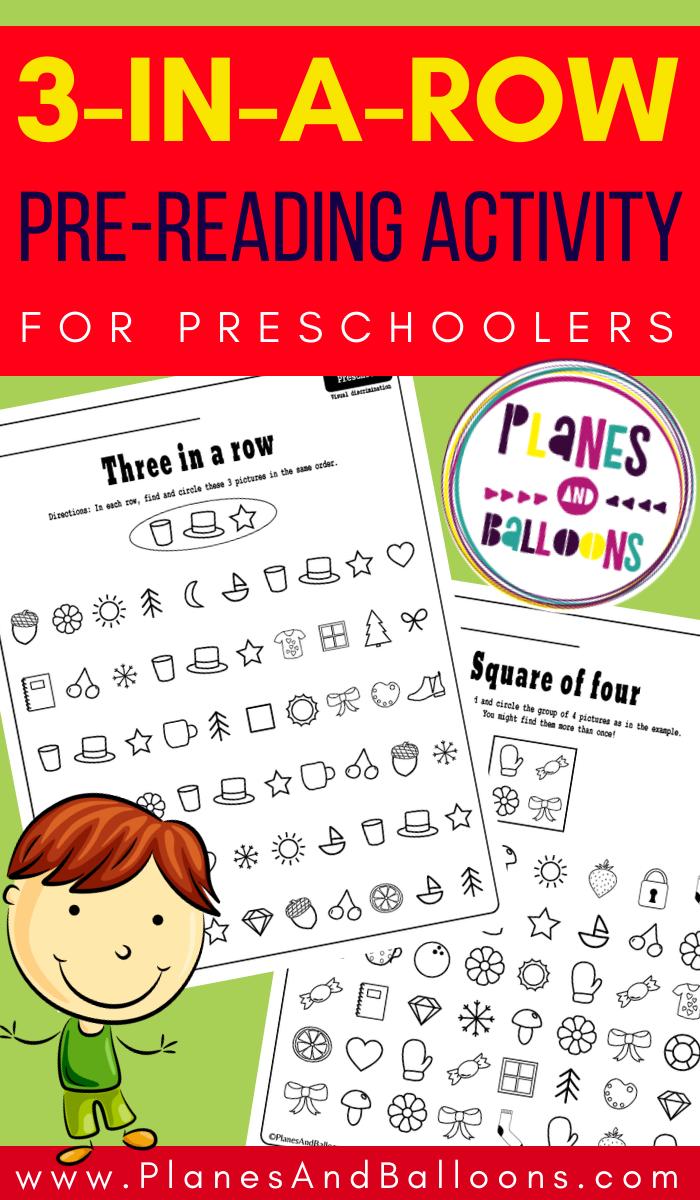 Three In A Row Preschool Activity Pre Reading Activities Preschool Pre Reading Activities Preschool Activities [ 1200 x 700 Pixel ]